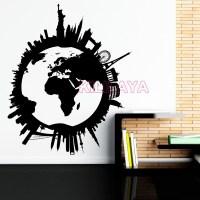 10 Best Collection of Vinyl Wall Art World Map | Wall Art ...