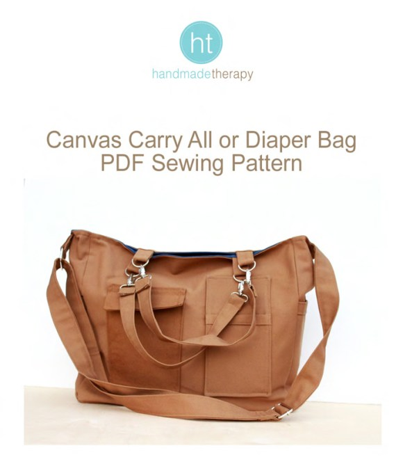 Canvas Carry All #sewing #pattern #diaperbag #totebag by Handmade Therapy