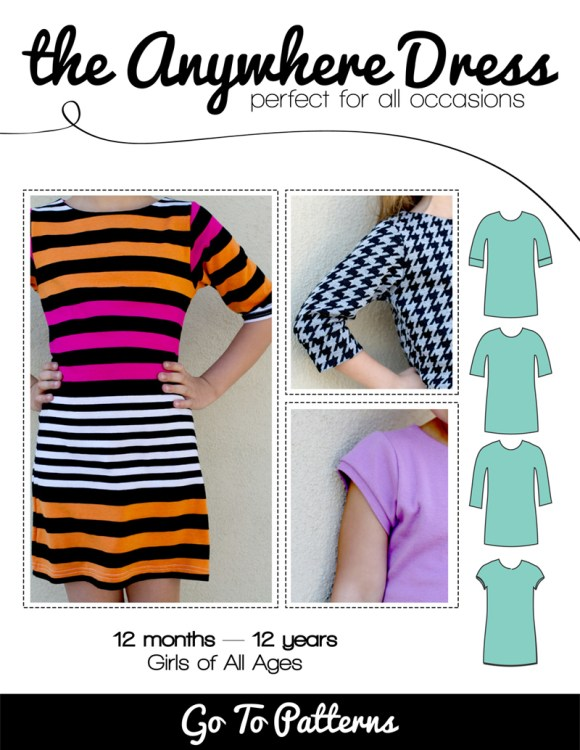 the Anywhere Dress pattern. Super cute for girls!