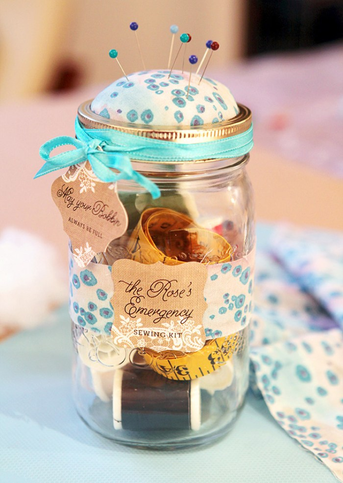 """Mason jar sewing kits are a great gift for new sewists or an """"emergency"""" kit for non-sewists. Evermine Blog shares this quick and easy tutorial. -Sewtorial"""