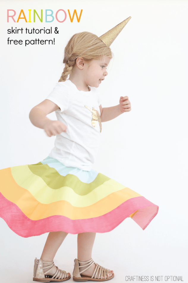 Craftiness Is Not Optional shares an adorable Rainbow Skirt tutorial that is sure to bring a smile to your super twirler. -Sewtorial
