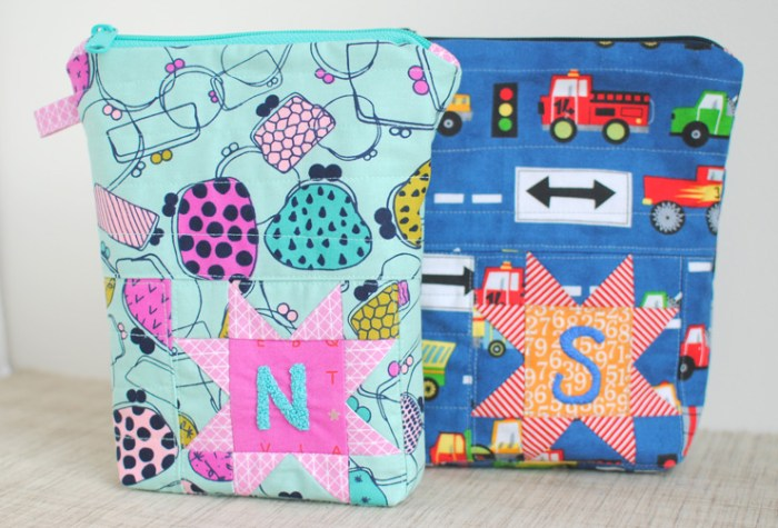 The insulated snack bag by Clover & Violet (for Pellon® Projects) is quilted and zips up to keep goodies secure. -Sewtorial