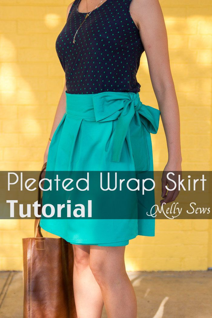 The flouncy DIY Pleated Wrap Skirt by Melly Sews is perfect in a light woven fabric for summer or a medium weight fabric with lining in the fall. -Sewtorial