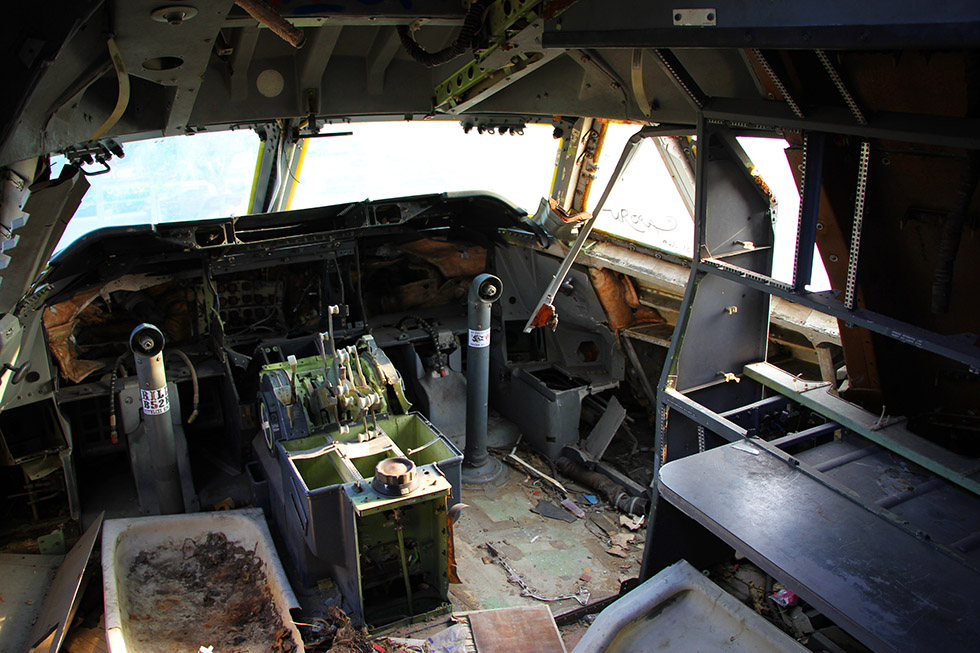 The cockpit - Airplane Graveyard in Bangkok