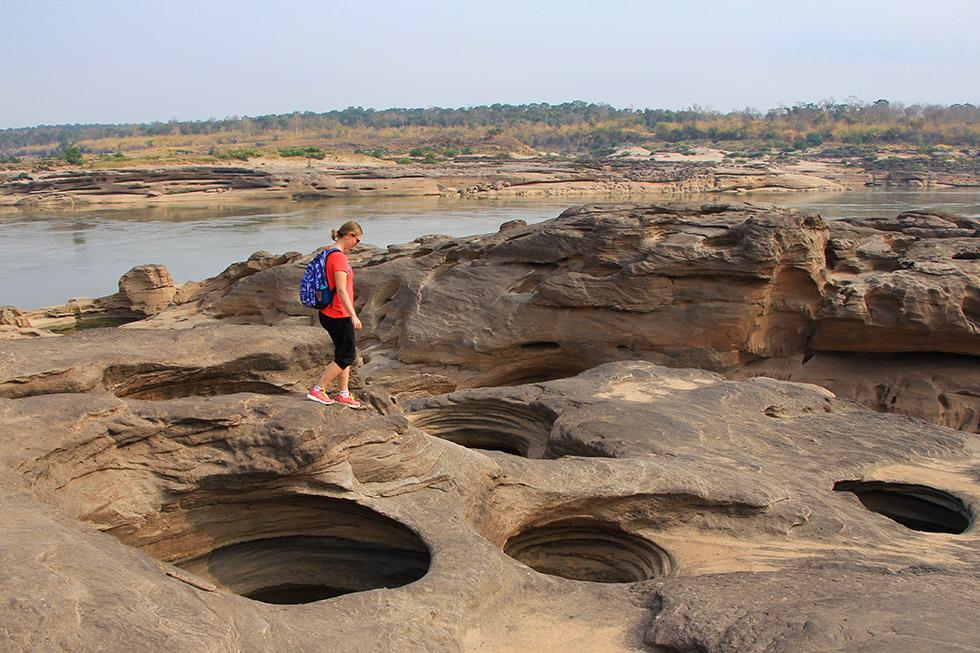 Many holes at Sam Phan Bok Canyon