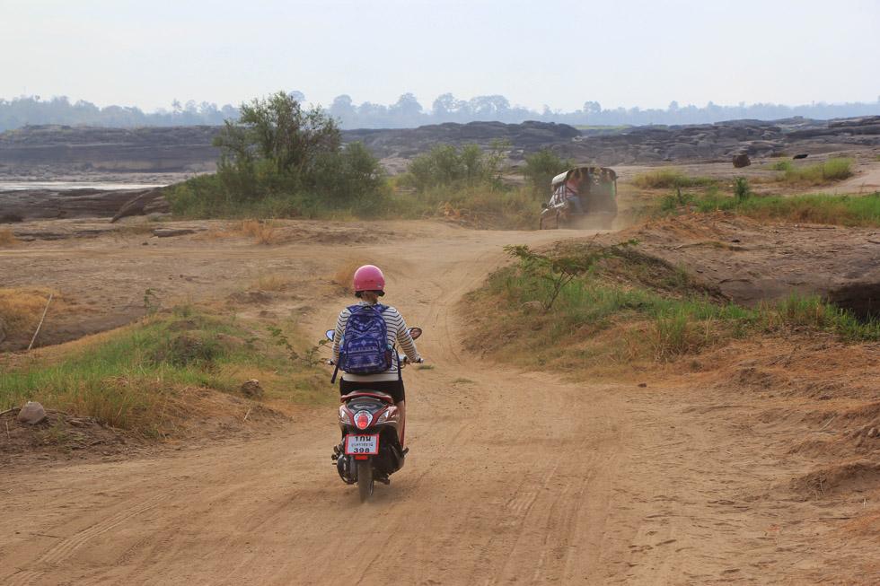 Driving the motorbike through Sam Phan Bok Canyon