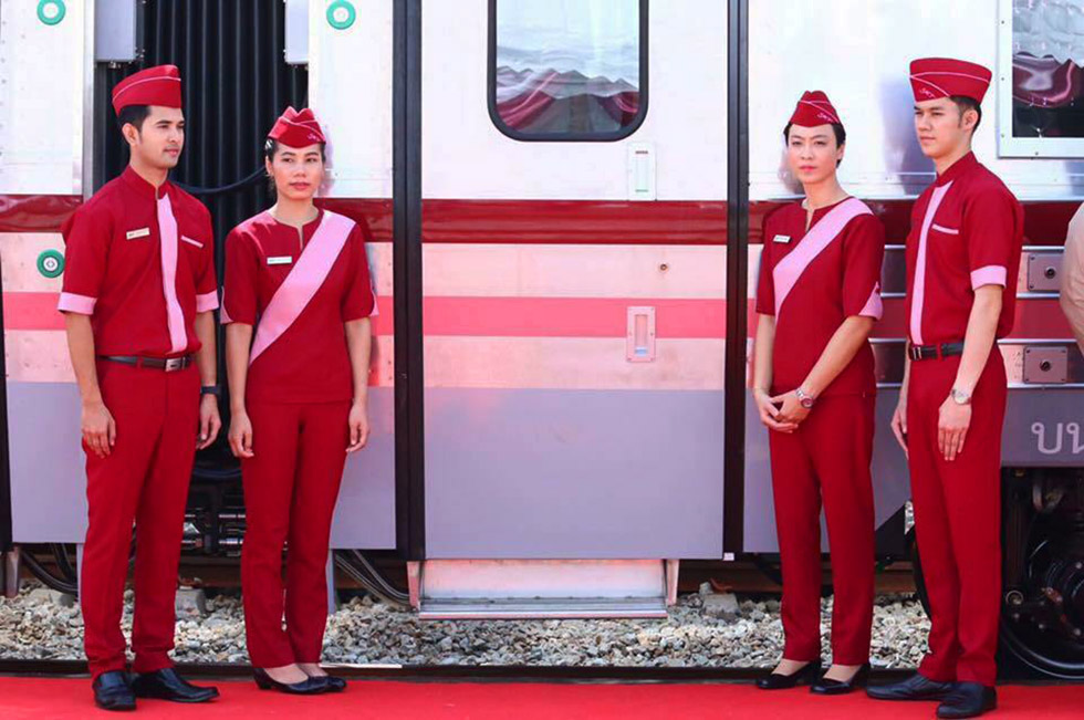 Staff of the Thai sleeper train