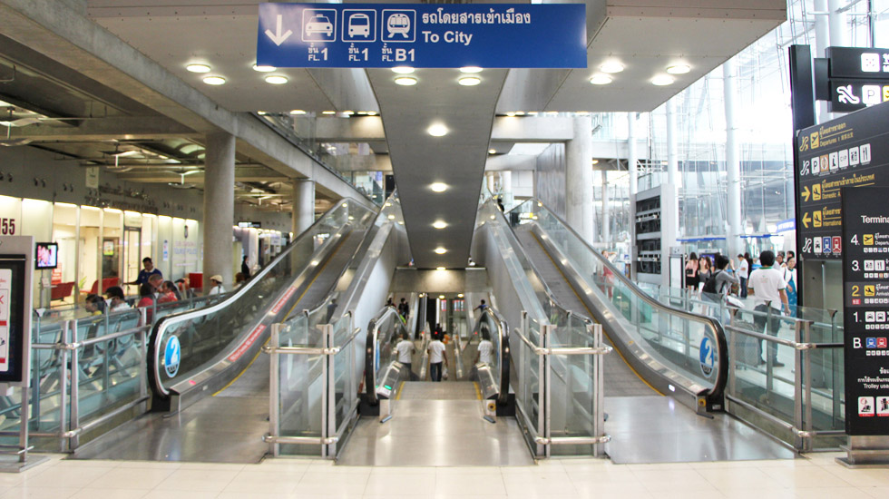 Escalators at Suvarnabhumi Airport in Bangkok