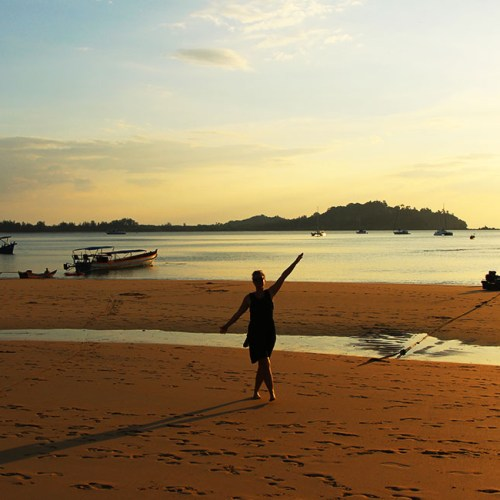 Mariska enjoying the sunset at Buffalow Bay in Koh Phayam