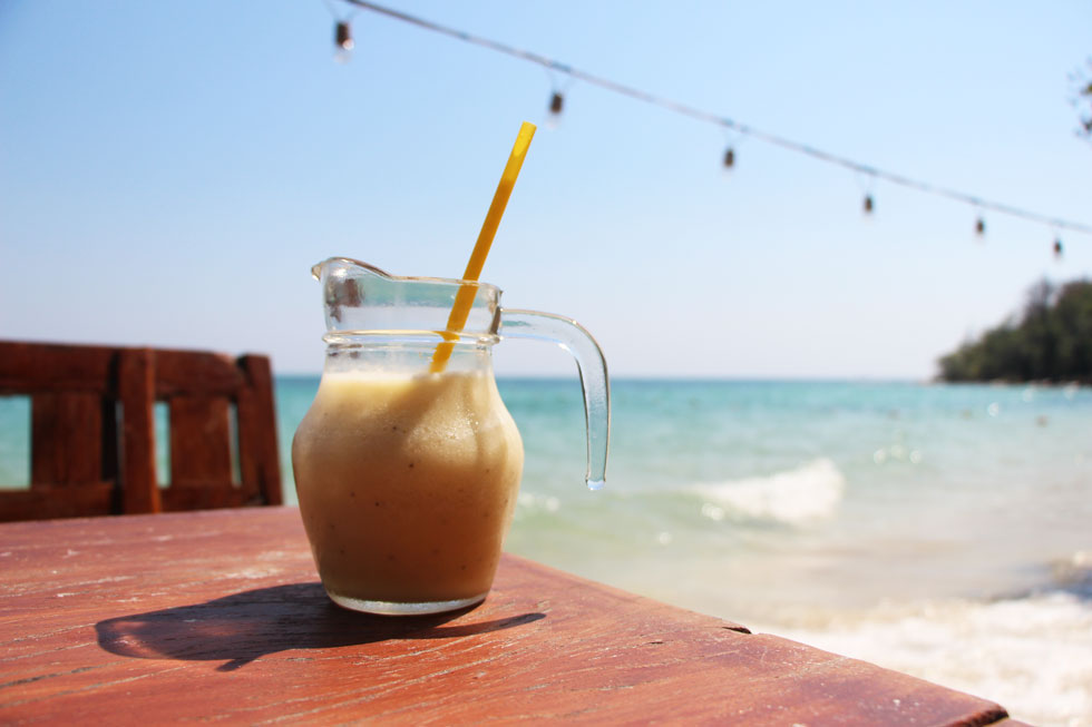 Banana shake at the beach