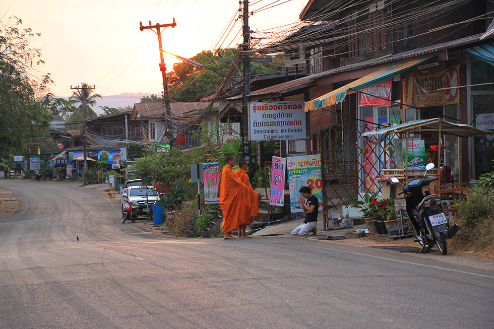 Monks making alm rounds in Khong Chiam