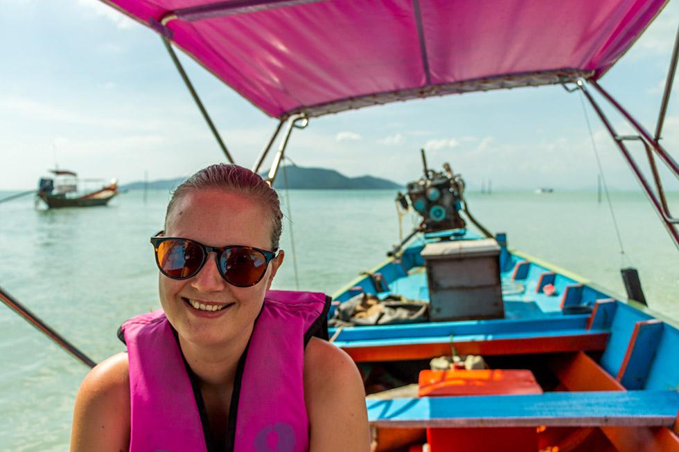 Mariska on a longtailboat