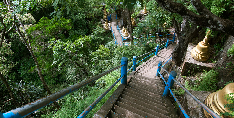 It's a climb to the top of the Tiger Cave Temple in Krabi