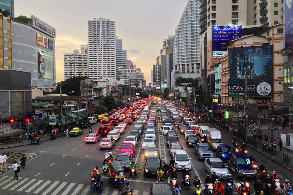 Busy Sukhumvit Road in Bangkok