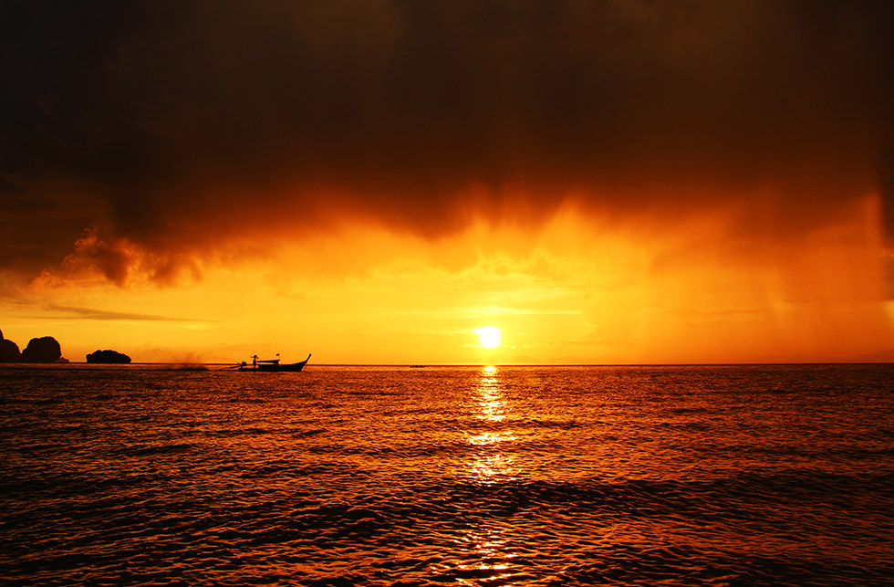 The sunset from Phra Nang Beach, Krabi