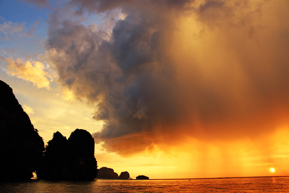 Amazing sunset in Thailand's Rainy Season