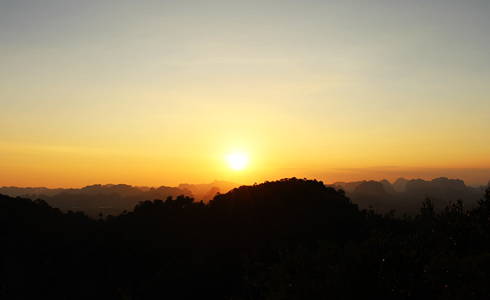 Beautiful sunset from the Tiger Cave Temple in Krabi