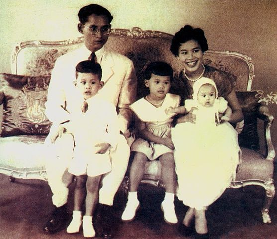 Young King Vajiralongkorn and his family in 1955
