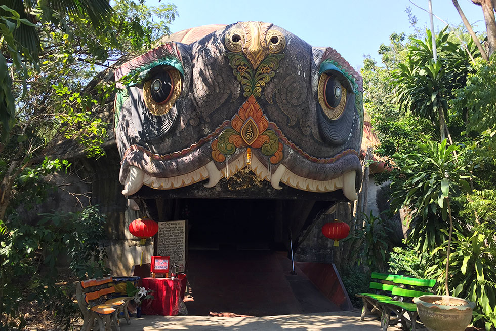 Giant turtle-cave where you can wander around in - Wat Samphran in Bangkok