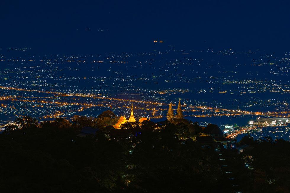 Doi Suthep and Chiang Mai at night