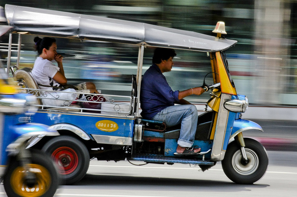 Riding a tuk tuk in Bangkok