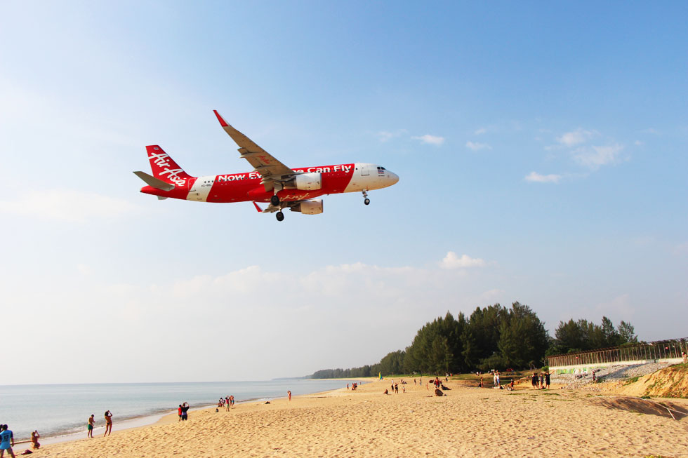 An Air Asia aircraft spotted at Mai Khao Beach in Phuket