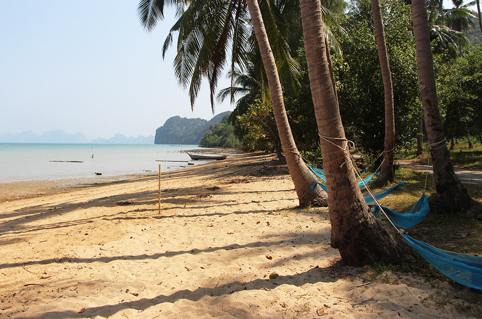 Makeshift hammocks made from old fishing nets - Koh Yao Noi