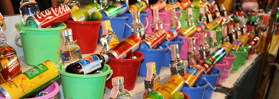 What bucket do you choose? - Full Moon Party on Koh Phangan