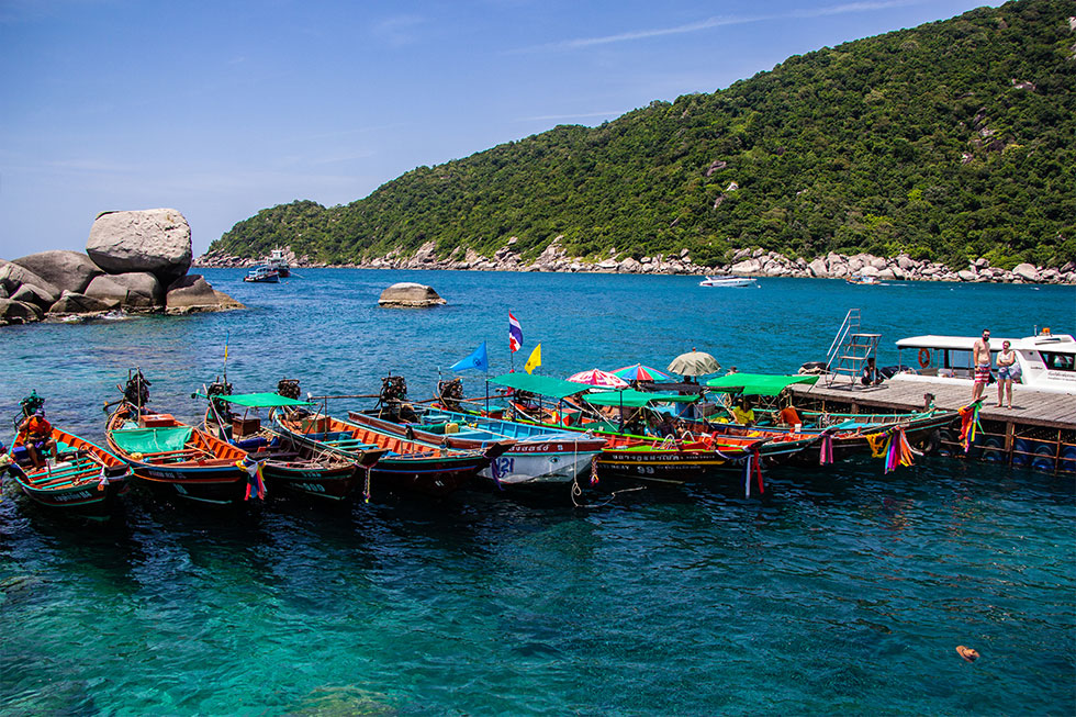 Taxi boats at Koh Nang Yuan near Koh Tao