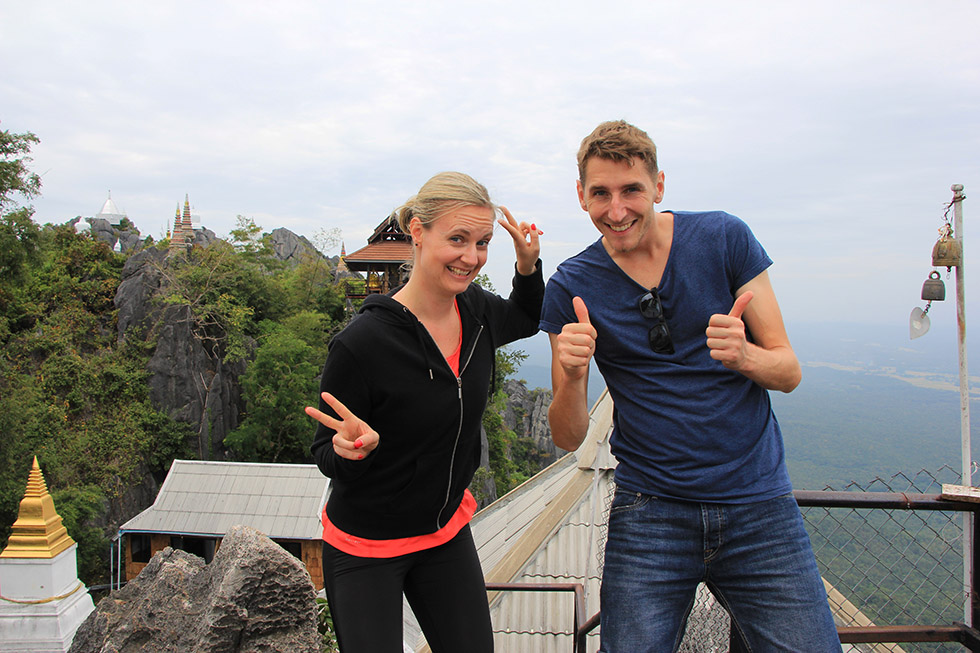 Mariska and Sander on the top of Wat Chalermprakiat in Lampang