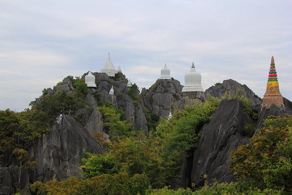 Beautiful mountain temples at Wat Chalermprakiat in Lampang