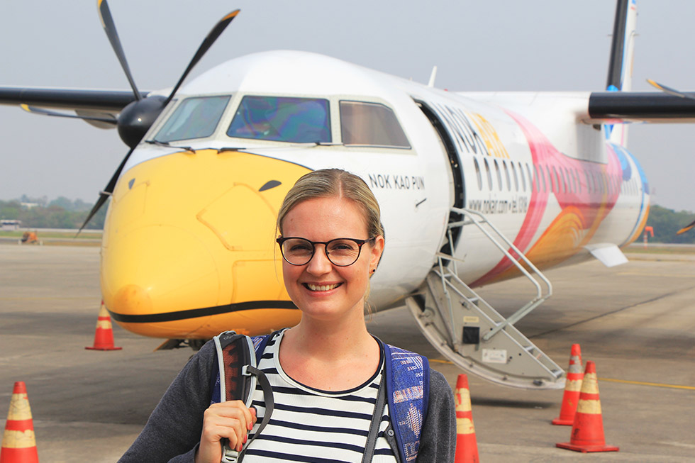 Mariska traveling with Nok Air to Udon Thani