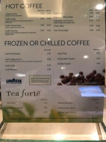 Atrium Coffee Shop Menu