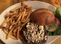 Blue cheese burger and fries