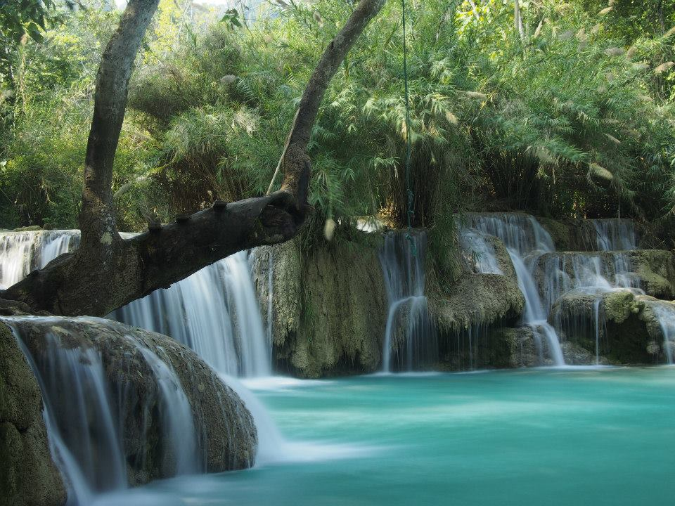 One of the pools where you can swim at Kuang Si Falls.