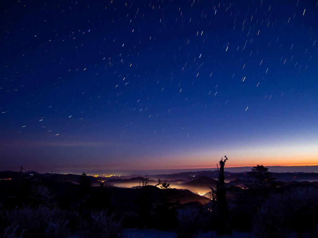 Taebaeksan in Winter.  Starrry skies.