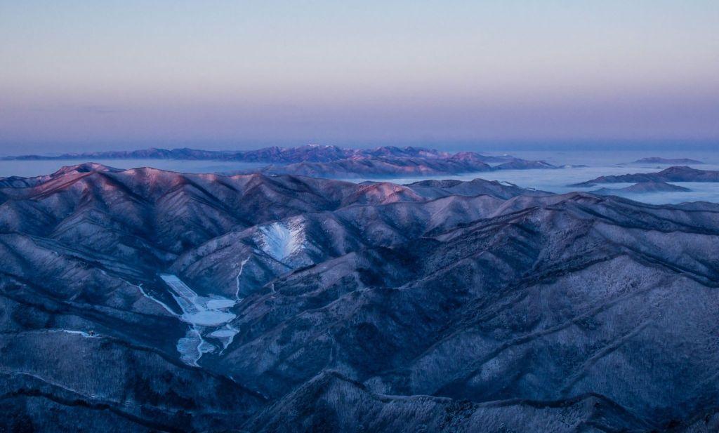 Snowy Peaks of Gangwondo, seen from Taebaeksan Winter Hiking