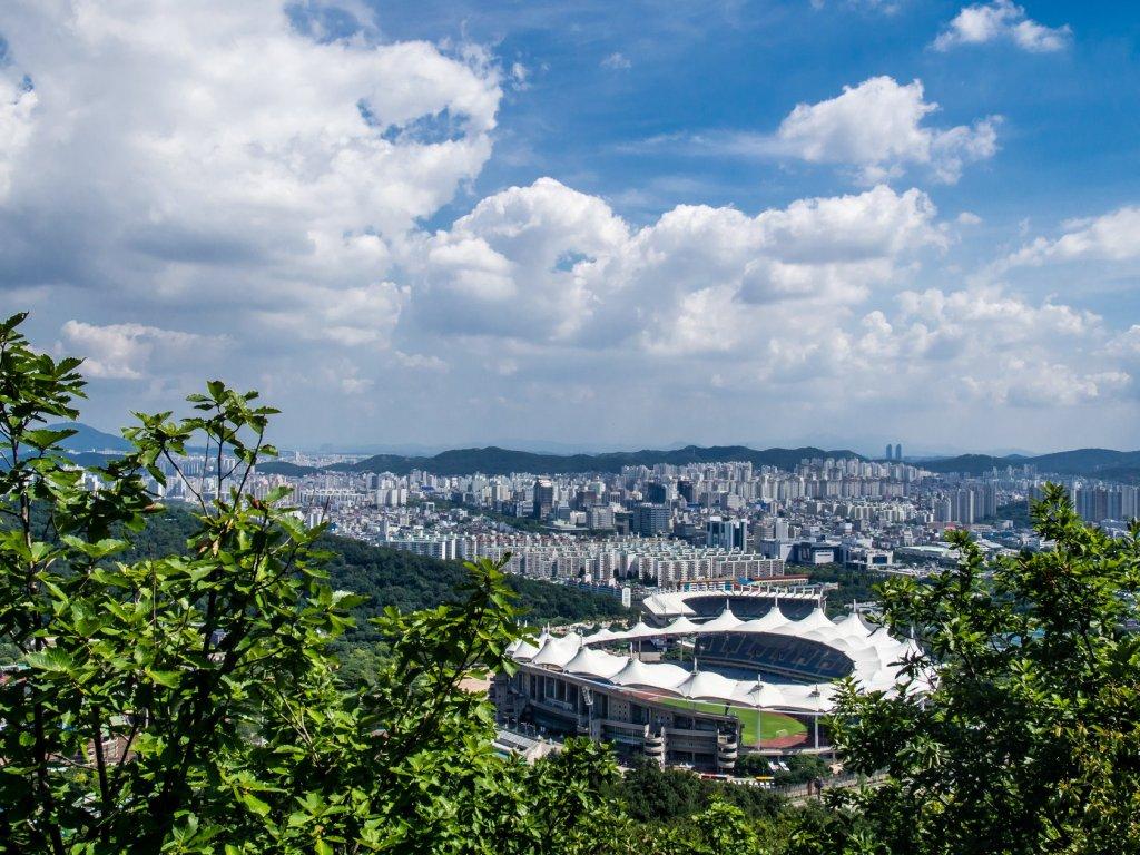 View of Munhak Stadium from Munhaksan