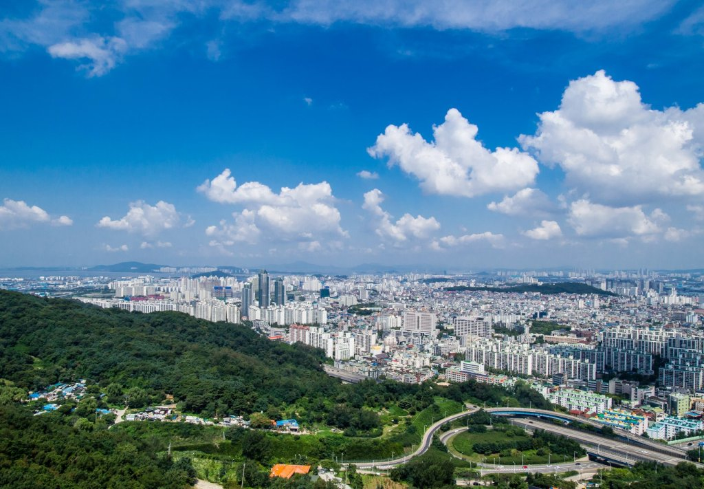 Summit view from Munhaksan looking towards Incheon City