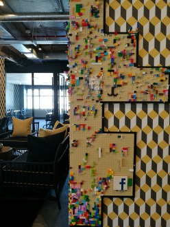 The Lego wall in Work & Co's hot desking area on the 11th floor