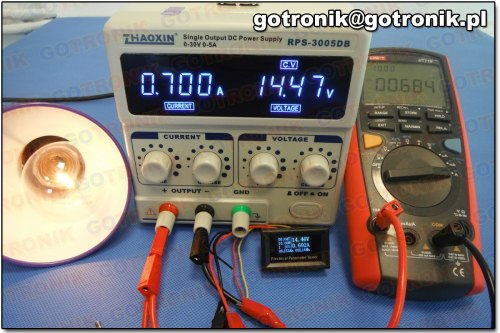 Pomiar prądu przy 0,700 A