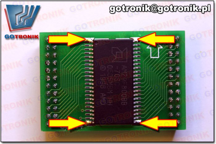 przylutowana obudowa SOP44 na 4 piny po przekątnych