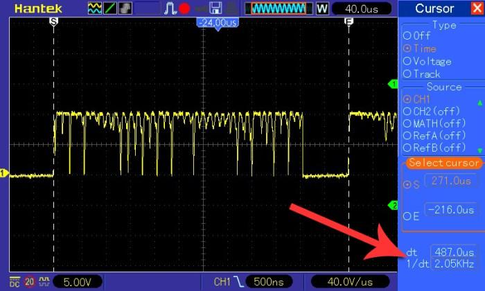 Pomiar częstotliwości przy napięciu wejściowym 2V