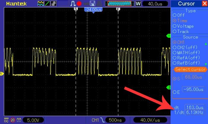 Pomiar częstotliwości przy napięciu wejściowym 6 V