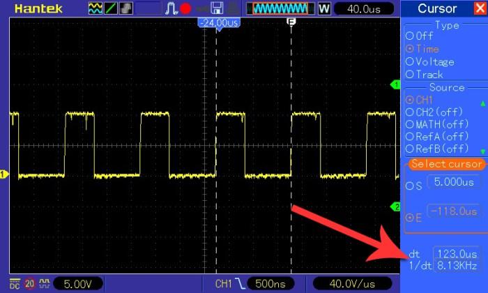 Pomiar częstotliwości przy napięciu wejściowym 8 V