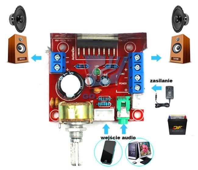Wzmacniacz TDA7297 mocy audio 2 x 15W