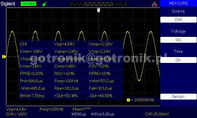 Prezentacja pomiarów automatycznych Siglent SDS1102CML+