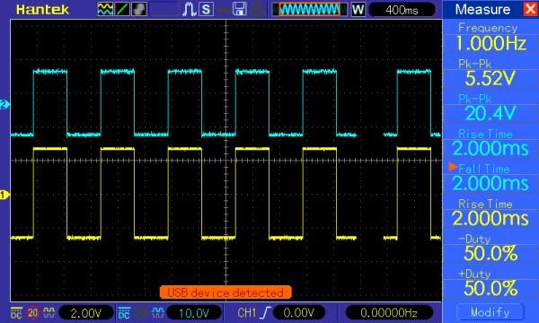 Pomiar 1: f=1Hz, amplituda=5V