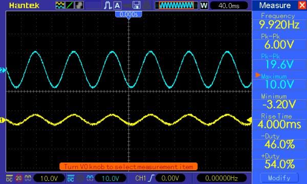 Pomiar 2: f=10Hz, amplituda=5V