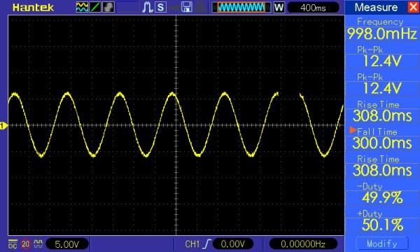 Pomiar 1: f=1Hz, Amplituda = 12V